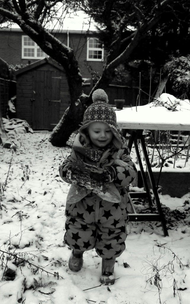 Playing in the snow ans helping to carry the logs down for daddy to split